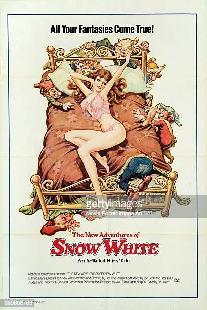 Image contains suggestive contentA poster for the German pornographic film 'The New Adventures of Snow White' aka 'Grimm's Fairy Tales for Adults' an...