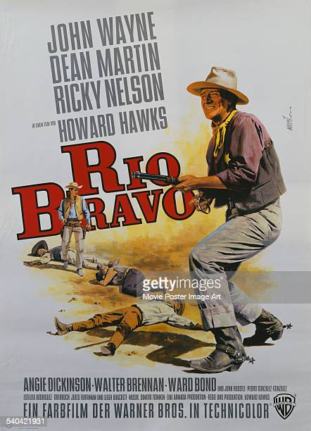 Poster for the German release of Howard Hawks' 1959 western, 'Rio Bravo', starring John Wayne.