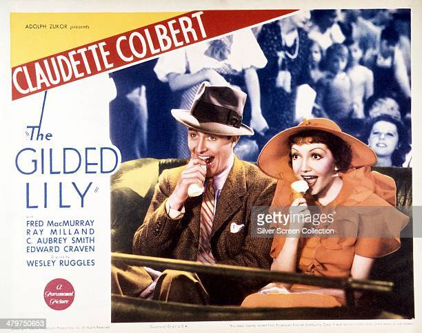 A poster for 'The Gilded Lily' directed by Wesley Ruggles and starring Fred MacMurray and Claudette Colbert 1935