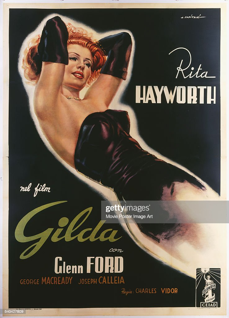 A poster for the Italian release of Charles Vidor's 1946 film noir, 'Gilda', starring Rita Hayworth.