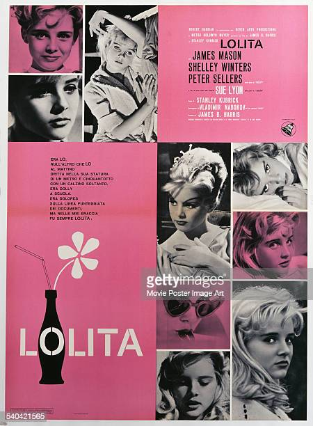 A poster for the Italian release of Stanley Kubrick's 1962 film adaptation of Vladimir Nabokov's novel 'Lolita' starring Sue Lyon