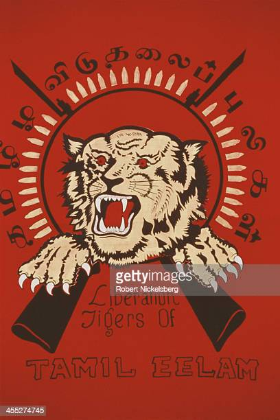 A poster for the Liberation Tigers of Tamil Eelam is displayed on a wall in Sri Lanka 24th November 1994
