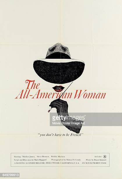 Image contains suggestive contentA poster for the MDM pornographic film 'The AllAmerican Woman' with the tagline 'You Don't Have to be French' 1976