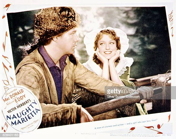 A poster for the musical film 'Naughty Marietta' directed by Robert Z Leonard and WS Van Dyke and starring Jeanette MacDonald and Nelson Eddy 1935
