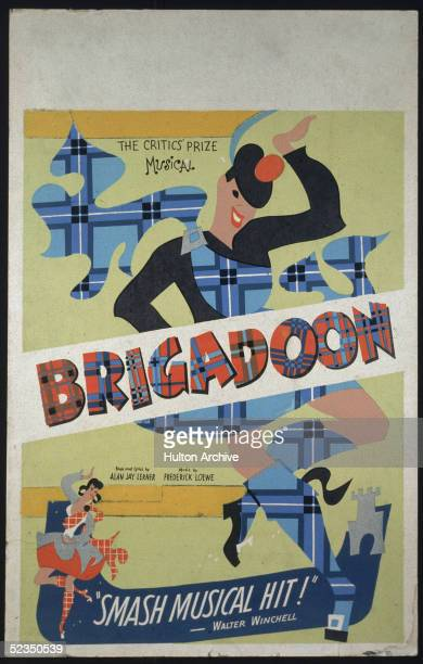 Poster for the musical play 'Brigadoon' is an illustration of the grossly deformed caricatures of a Highland Scots man and woman as they dance in the...