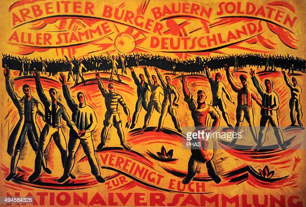 Poster for the National Assembly elections January 19 1919 Workers citizens farmers soldiers of German origin unite in the National Assembly Germany