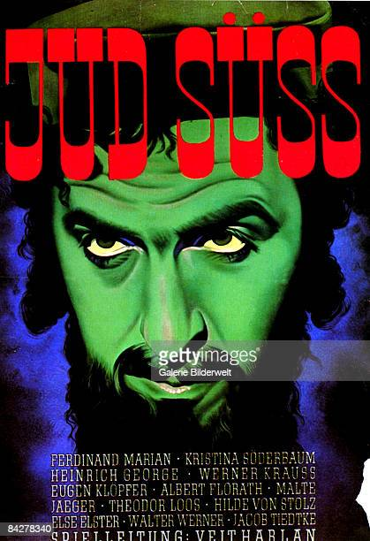 A poster for the Nazi antiSemitic propaganda film 'Jud Suss' starring Austrian actor Ferdinand Marian as the titular character 1940