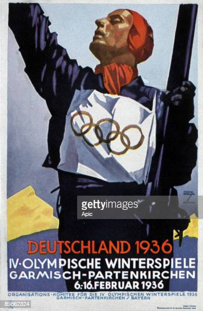 Poster for the Olympic Winter Games in Garmisch Partenkirchen in Germany in 1936