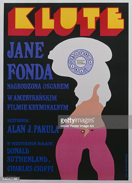 A poster for the Polish release of Alan J Pakula's 1971 crime thriller 'Klute' The film stars Donald Sutherland and Jane Fonda