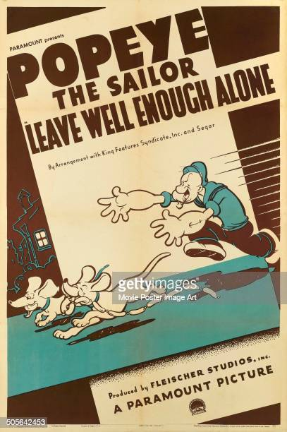 A poster for the Popeye comedy short 'Leave Well Enough Alone' produced by Fleischer Studios Inc for Paramount 1939