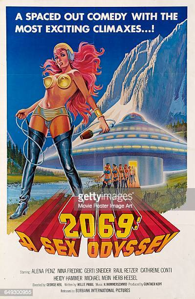 Image contains suggestive contentA poster for the pornographic film '2069 A Sex Odyssey' 1974 The film is a parody of the 1968 science fiction...