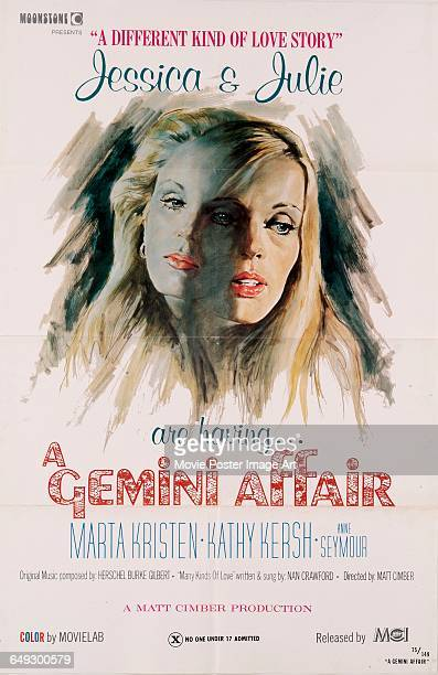 Image contains suggestive contentA poster for the pornographic film 'A Gemini Affair' starring Marta Kristen and Kathy Kersh as Jessica and Julie...