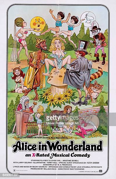 Image contains suggestive contentA poster for the pornographic film 'Alice in Wonderland An XRated Musical Comedy' directed by Bud Townsend and...