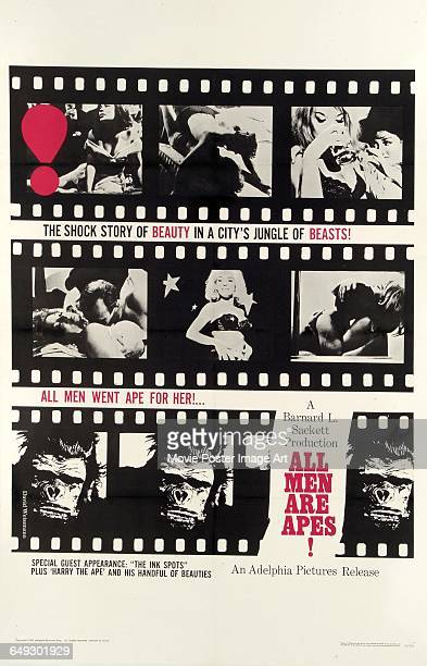 Image contains suggestive contentA poster for the pornographic film 'All Men Are Apes' an Adelphia Pictures Release 1965 The film boasts a special...