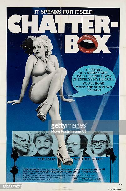 Image contains suggestive contentA poster for the pornographic film 'Chatterbox' starring Candice Rialson as a woman with a talking vagina 1977 The...