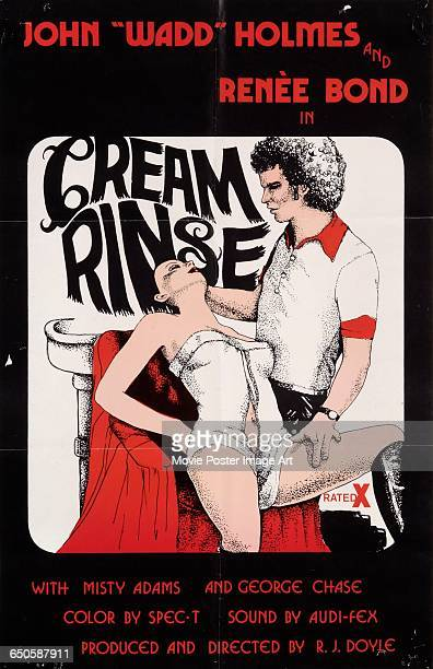 Image contains suggestive contentA poster for the pornographic film 'Cream Rinse' starring John Holmes and Rene Bond 1976 The film was produced and...