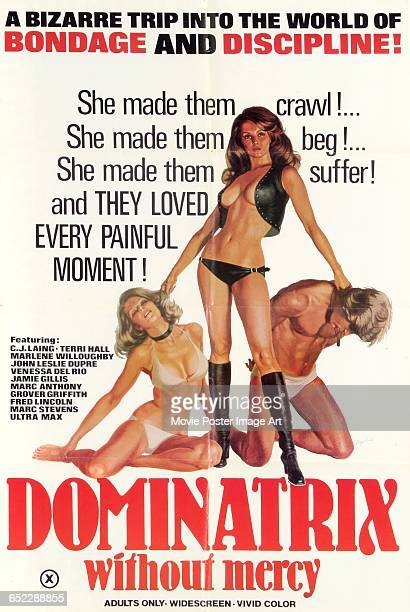 Image contains suggestive contentA poster for the pornographic film 'Dominatrix Without Mercy' featuring a dominatrix and two sex slaves 1976