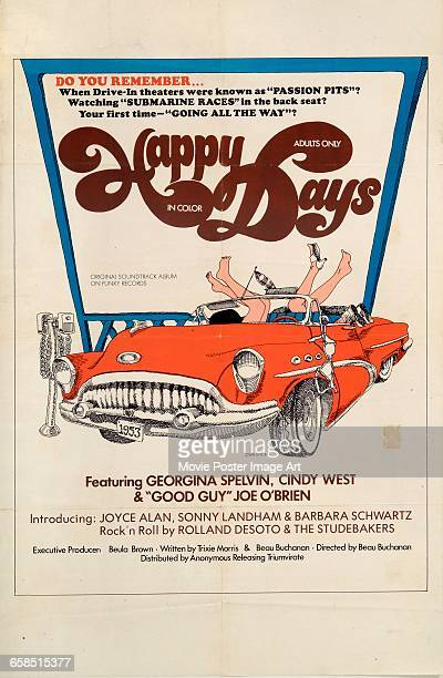 Image contains suggestive contentA poster for the pornographic film 'Happy Days' starring Georgina Spelvin 1974 The American television sitcom 'Happy...