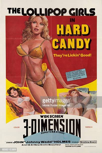 Image contains suggestive contentA poster for the pornographic film 'Hard Candy' featuring The Lollipop Girls and actor John Holmes 1976