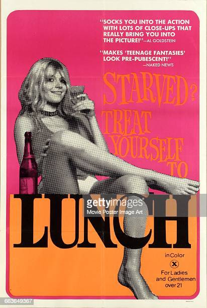 Image contains suggestive contentA poster for the pornographic film 'Lunch' directed by Curt McDowell 1972
