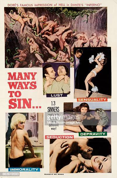 Image contains suggestive contentA poster for the pornographic film 'Many Ways to Sin' featuring one of Gustave Doré's illustrations for Dante's...