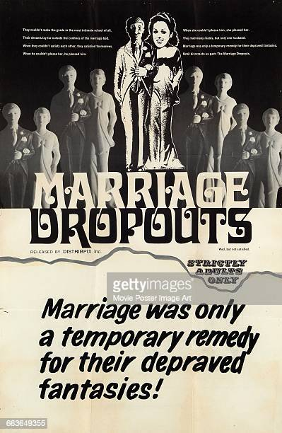 Image contains suggestive contentA poster for the pornographic film 'Marriage Dropouts' released by Distribpix Inc 1969