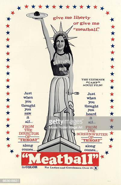 Image contains suggestive contentA poster for the pornographic film 'Meatball' featuring the Statue of Liberty holding aloft one of the titular...