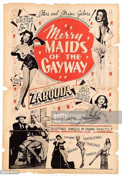 Image contains suggestive contentA poster for the pornographic film 'Merry Maids of the Gay Way' aka 'A Nite at the Follies' 'Keyhole Burlesque' or...