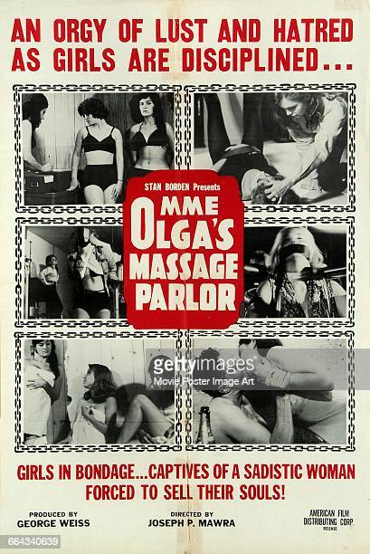 Image contains suggestive contentA poster for the pornographic film 'Mme Olga's Massage Parlor' directed by Joseph P Mawra and written and produced...