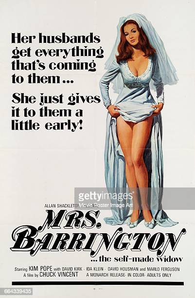 Image contains suggestive contentA poster for the pornographic film 'Mrs Barrington' starring Kim Pope and directed by Chuck Vincent 1974