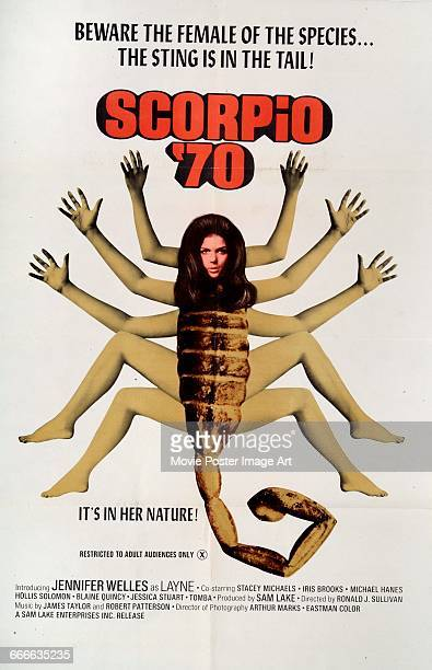Image contains suggestive contentA poster for the pornographic film 'Scorpio '70' featuring a hybrid scorpionwoman 1970