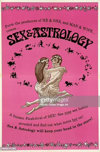 Image contains suggestive contentA poster for the pornographic film 'Sex and Astrology' a sex farce set in ancient Rome directed by Matt Cimber 1971