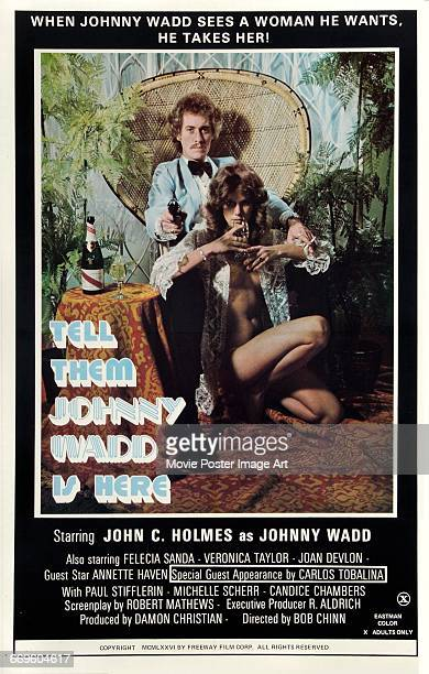 Image contains suggestive contentA poster for the pornographic film 'Tell Them Johnny Wadd Is Here' featuring porn star John Holmes as private...