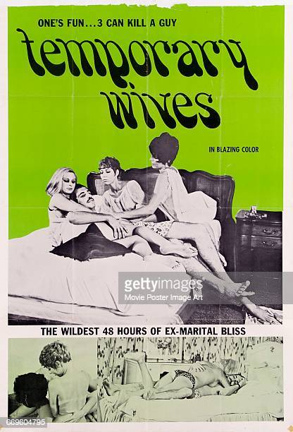 Image contains suggestive contentA poster for the pornographic film 'Temporary Wives' featuring a ménage à quatre 1969