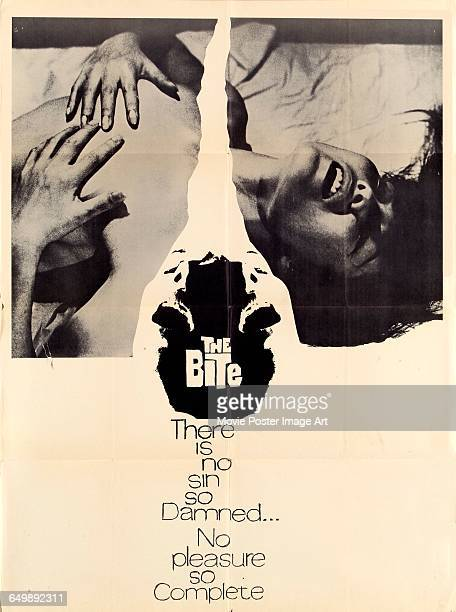 Image contains suggestive contentA poster for the pornographic film 'The Big Con' aka 'The Bite' with the tagline 'There is no sin so damned no...