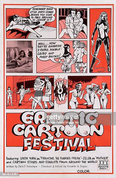 Image contains suggestive contentA poster for the pornographic film 'The Erotic Cartoon Festival' starring Linda York 1976