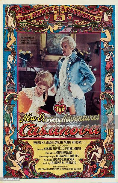Image contains suggestive contentA poster for the pornographic film 'The New Erotic Adventures of Casanova' featuring actor John Holmes in period...