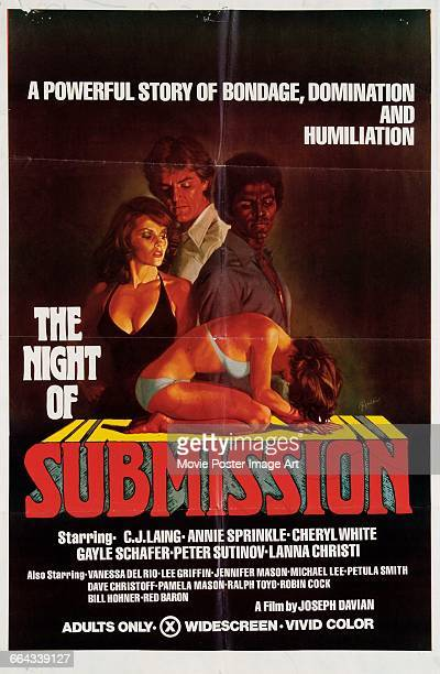 Image contains suggestive contentA poster for the pornographic film 'The Night of Submission' directed by Joe Davian 1976