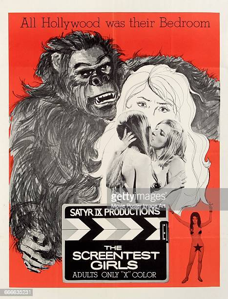 Image contains suggestive contentA poster for the pornographic film 'The Screentest Girls' from Satyr IX Productions 1969