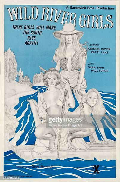 Image contains suggestive contentA poster for the pornographic film 'Wild River Girls' directed by Grey Poupon and starring Cristal Dover and Patti...