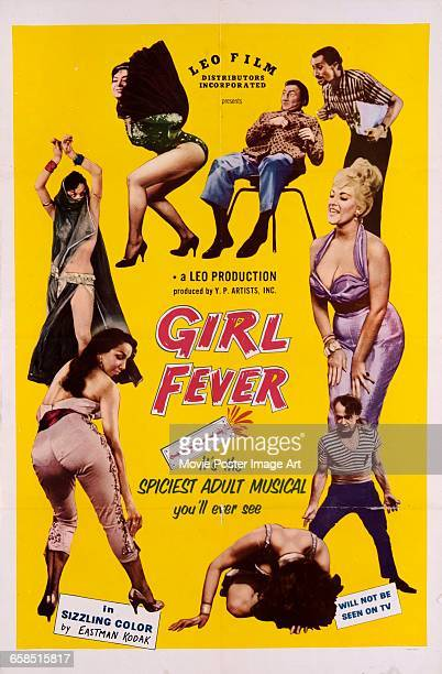 Image contains suggestive contentA poster for the pornographic musical film 'Girl Fever' A Leo Production produced by Y P Artists Inc 1960