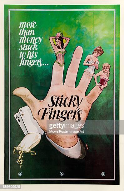 Image contains suggestive contentA poster for the pornographic western film 'Sticky Fingers' circa 1970