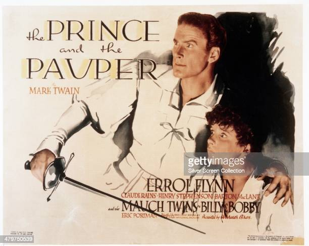 A poster for 'The Prince And The Pauper' directed by William Keighley and William Dieterle and starring Errol Flynn and twins Billy and Bobby Mauch...