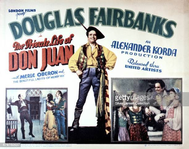 Poster for 'The Private Life Of Don Juan', directed by Alexander Korda and starring Douglas Fairbanks in his last film role, 1934.