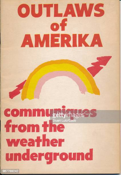 Poster for the radical group Weather Underground featuring a rainbow and lightning bolt motif advocating for an end to the Vietnam War 1971