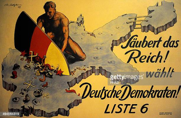 DDP poster for the Reichstag elections May 1928 Clean up the Reich Vote German Democrat Germany