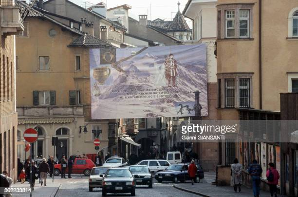 Poster for the return of Iceman Otzi, back to Italy after have been analysed by the scientists of University of Innsbruck, on 27 March 1998, Bolzano,...