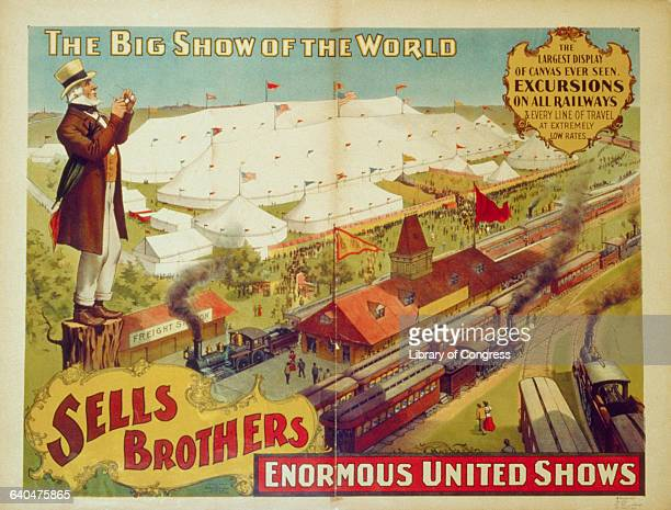 A poster for the Sells Brothers Circus advertising 'Excursions on All Railways' Many trains pull into the station next door
