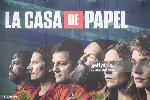 Poster for the series La Casa de Papel at Netflix's Spanish headquarters on April 30 in Tres Cantos, Madrid, Spain. The headquarters, which opened...