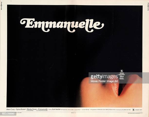 Image contains suggestive contentA poster for the softcore pornographic film 'Emmanuelle' with the tagline 'X was never like this' 1974